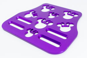 "Mouse Head with Bow Universal Wheelchair Footplate 7"" x 6"" Front Bolt Fixed Violet"