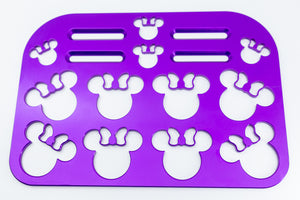 "Mouse with Bow Universal Wheelchair Footplate 10"" x 7"" Rear Bolt Flip Up Violet"