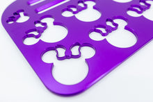 "Load image into Gallery viewer, Mouse with Bow Universal Wheelchair Footplate 10"" x 7"" Rear Bolt Flip Up Violet"