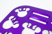 "Load image into Gallery viewer, Mouse Head with Bow Violet 12"" x 7"" Universal Wheelchair Footplate Rear Bolt Flip Up"