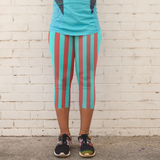 Red and Teal Stripes Pattern Women's Capri Leggings - USA Made