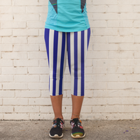 Blue and White Stripe Women's Capri Leggings