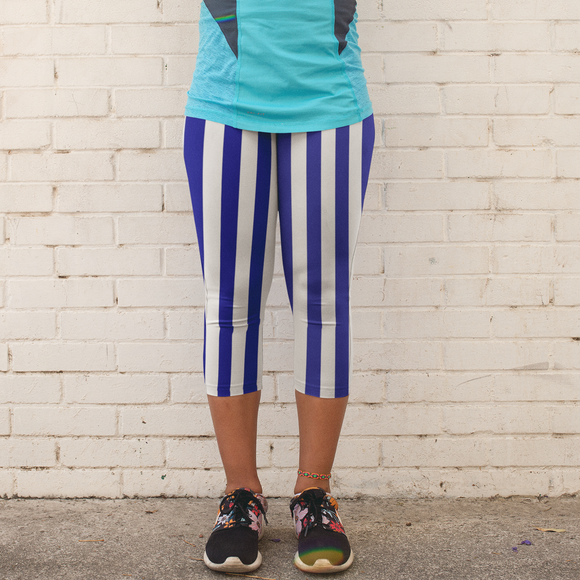 Blue and White Stripe Women's Capri Leggings  - USA Made