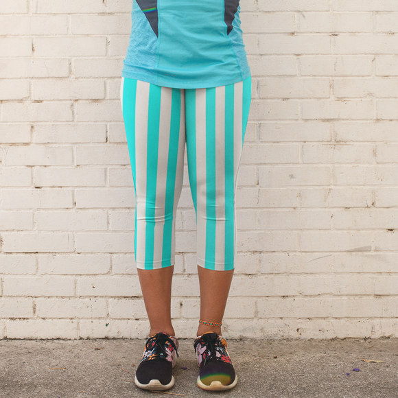 Teal and White Stripes Pattern Women's Capri Leggings - USA Made