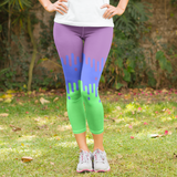 Purple and Lime Green Fade Design Women's Capri Leggings - USA Made