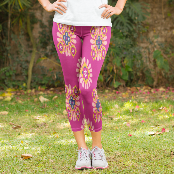 Pink Mandala Pattern Women's Capri Leggings - USA Made