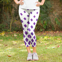 Purple Diamond Fade Design Women's Capri Leggings