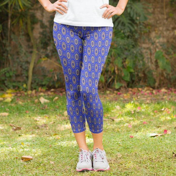 Blue Mandala Print Design Women's Capri Leggings - USA Made