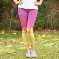 Purple and Yellow Fade Design Women's Capri Leggings