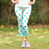 Teal Fade Pattern Women's Capri Leggings