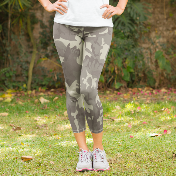 Subdued Woodland Camouflage Pattern Women's Capri Leggings - USA Made