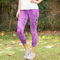 Pink Floral Garden with Butterfly Design Women's Capri Leggings
