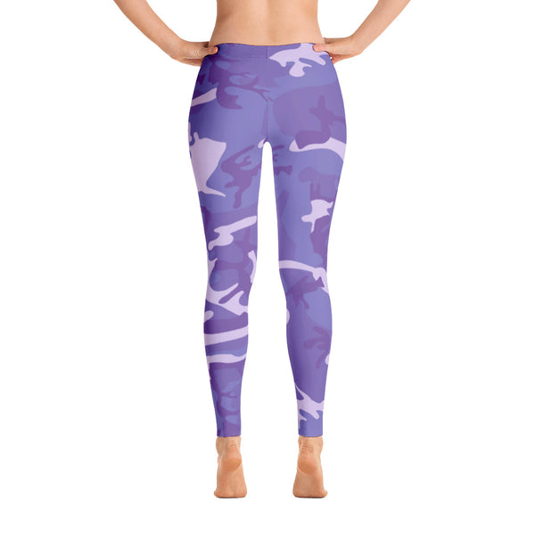 Purple Blue Camouflage Pattern Women's Leggings