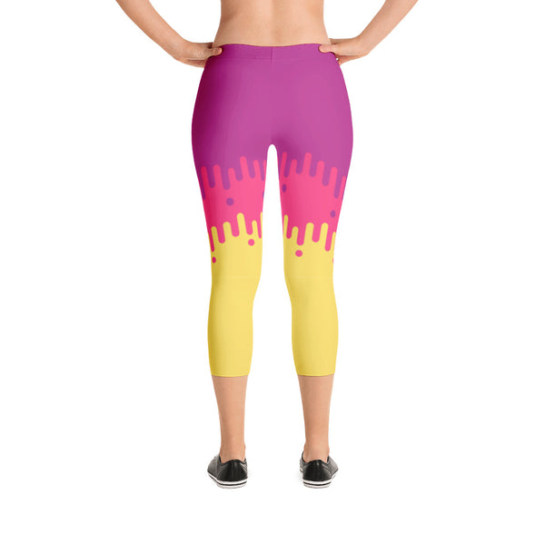 Purple and Yellow Fade Design - Women's Yoga Pilates Barre Gym Running Capri Length Leggings - USA Made - YUBDesigns