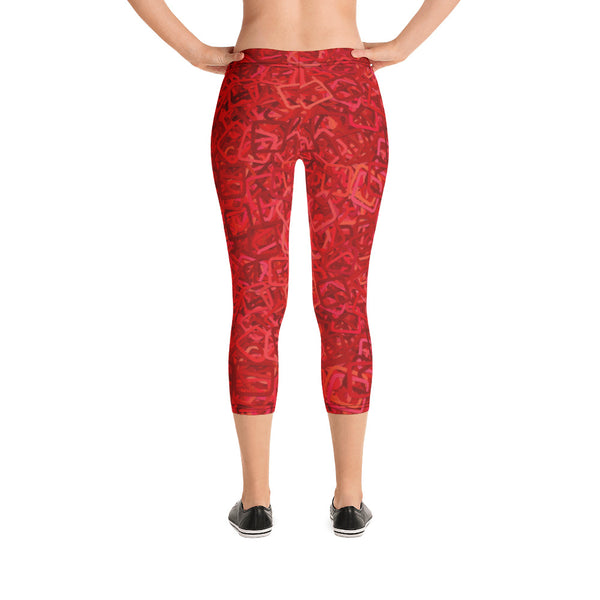 Red Abstract Square Design Capri Leggings