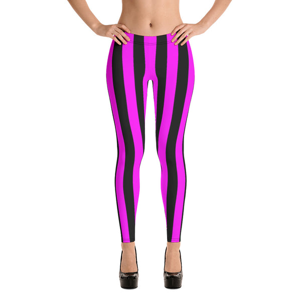 Pink and Black Stripe Women's Leggings