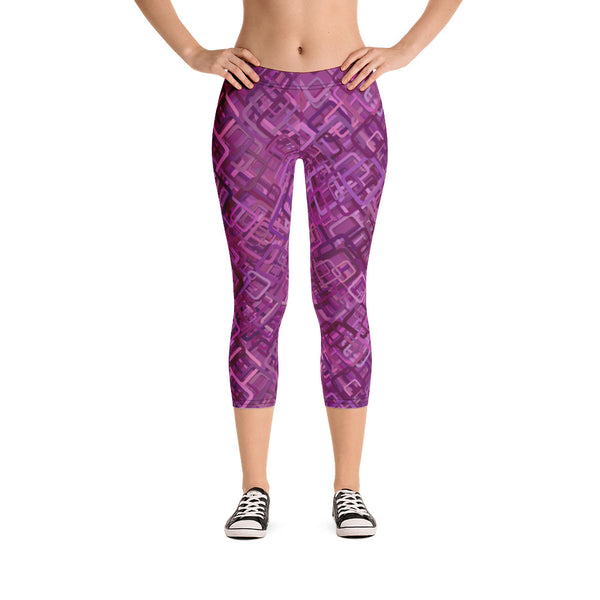 Purple Square Abstract Design Capri Leggings