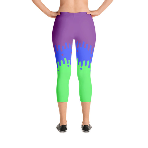 Purple and Lime Green Fade Design - Women's Yoga Pilates Barre Gym Running Capri Length Leggings - USA Made - YUBDesigns