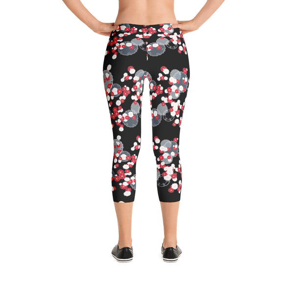 Black Red Floral Bouquet - Women's Yoga Pilates Barre Gym Running Capri Length Leggings - USA Made - YUBDesigns