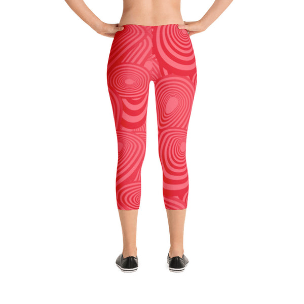 Red Abstract Pattern Capri Leggings Yoga Tights Workout Pants-USA Made
