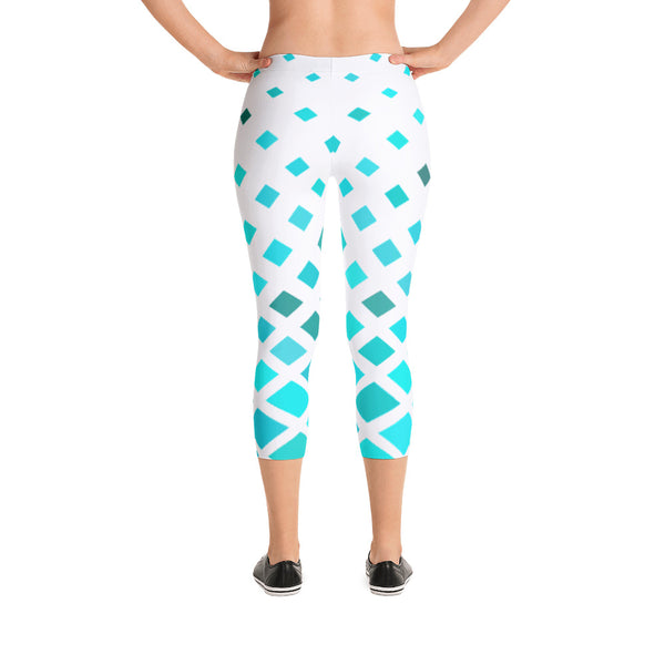 Teal Fade Pattern Capri Leggings Yoga Tights Workout Pants-USA Made
