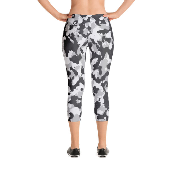 Small Pattern Gray White Camo - Women's Yoga Pilates Barre Gym Running Capri Length Leggings - USA Made - YUBDesigns
