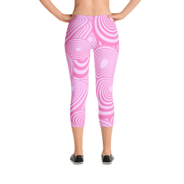 Pink Abstract Design - Women's Yoga Pilates Barre Gym Running Capri Length Leggings - USA Made - YUBDesigns