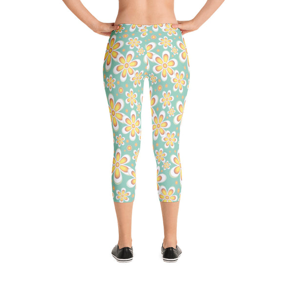 Pale Green and Yellow 60's Flower Power - Women's Yoga Pilates Barre Gym Running Capri Length Leggings - USA Made - YUBDesigns