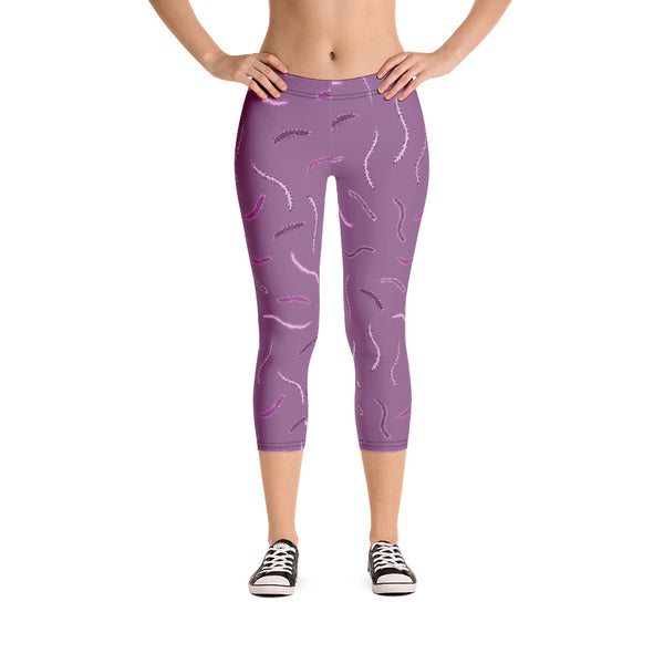 Purple Feather Design Capri Leggings