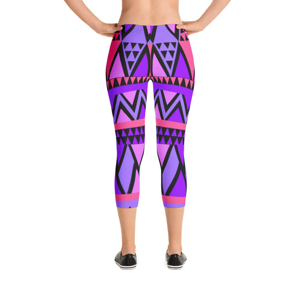 Pink and Purple Abstract Triangles - Women's Yoga Pilates Barre Gym Running Capri Length Leggings - USA Made - YUBDesigns