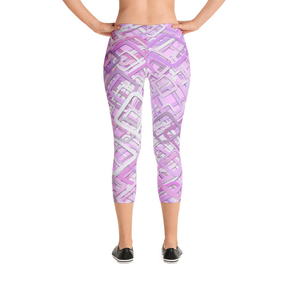 Pink Capri Leggings Yoga Tights Workout Pants - USA Made