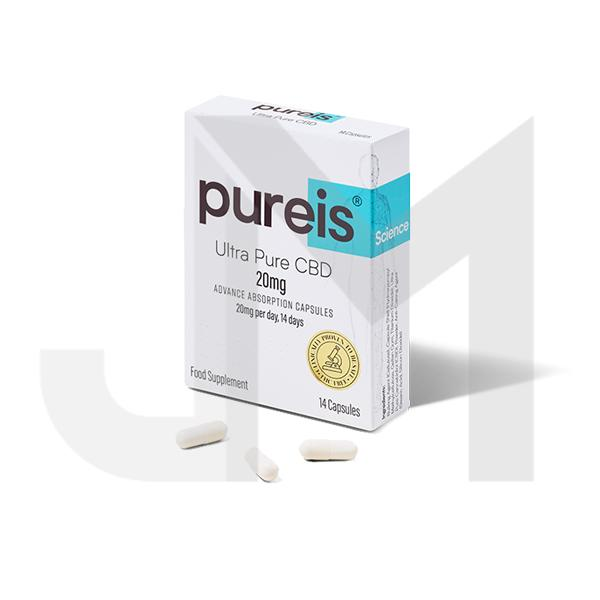 Pureis® CBD 20mg CBD Ultra Pure CBD Advanced Absorption Capsules - 14 Caps