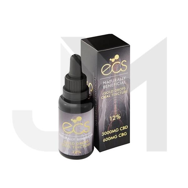 ECS Gold Drops 12% 3000mg CBD + 600mg CBG Oil 30ML