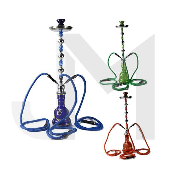 Large 3 Hose Shisha Hookah - Assorted Colours