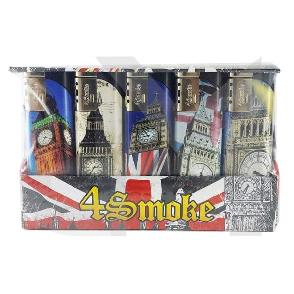 25 x 4Smoke Wind-Proof Printed Lighters - 218WE