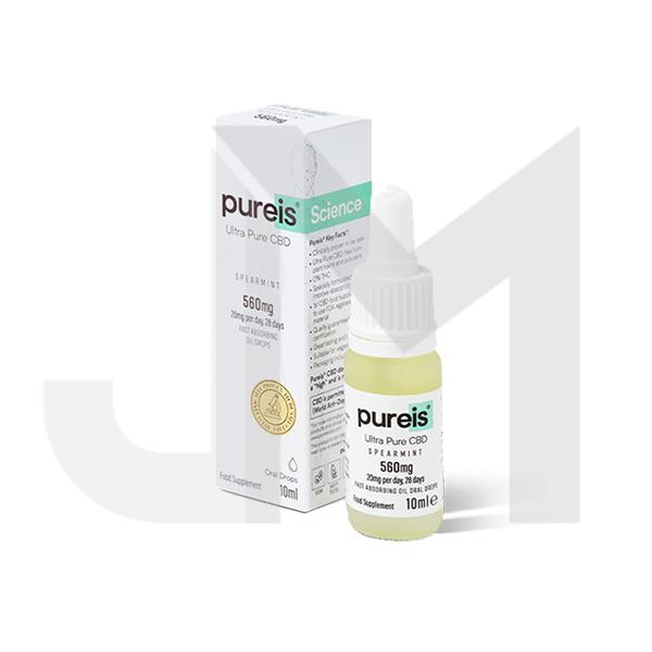 Pureis® CBD 560mg Ultra Pure CBD Oral Drops - Spearmint