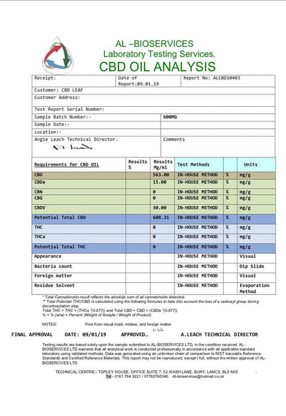 CBD Leaf 600MG Oral Drops 30ml