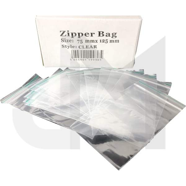 5 x Zipper Branded 75mm x 125mm Clear Bags