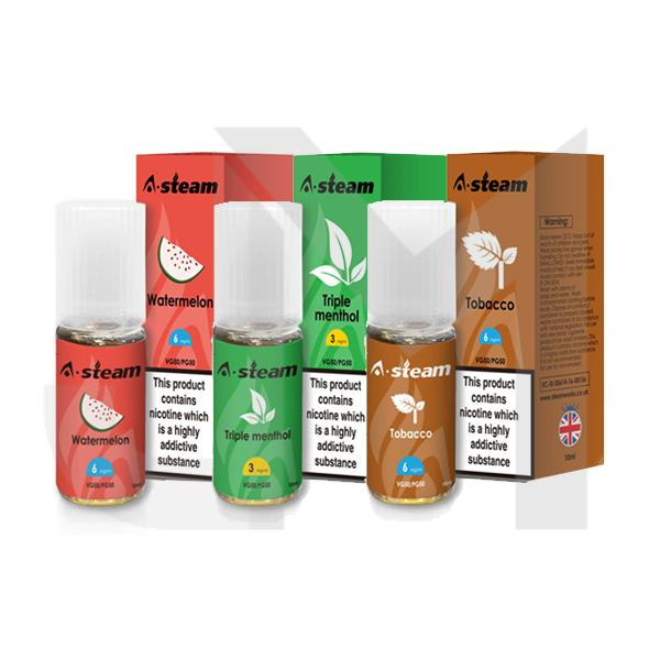 A-Steam Fruit Flavours 3MG 10 x 10ML (50VG/50PG)