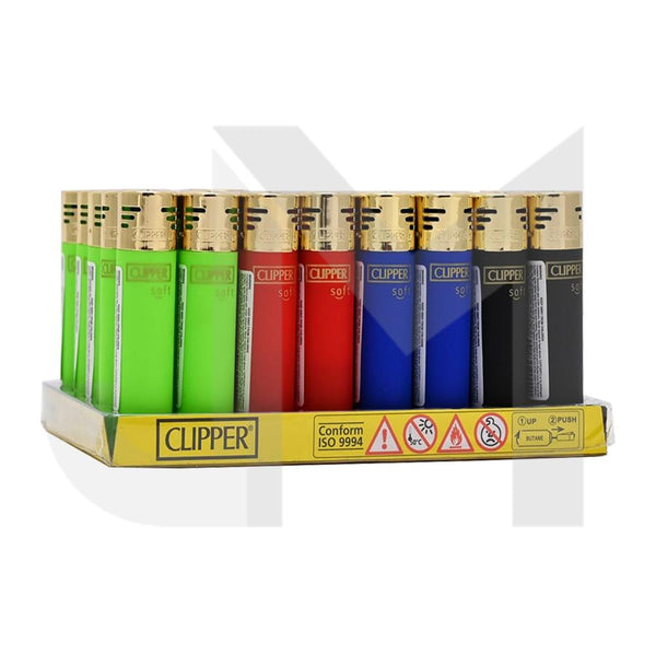 40 Clipper Soft Electronic Refillable Lighters - CK11RH