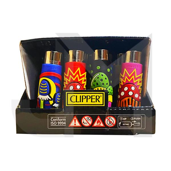 20 Clipper Large Rubber Pop Cover Lighter - Mushrooms