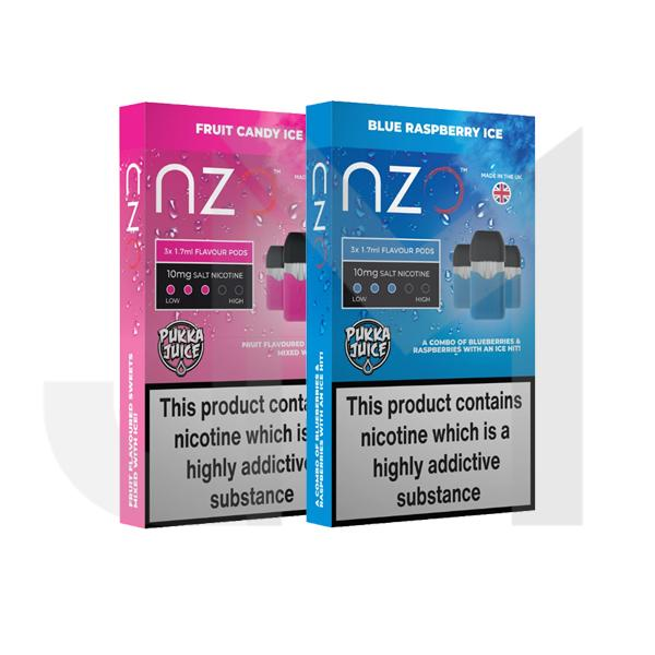 NZO 10mg Pukka Juice Salt Cartridges with Red Liquids Nic Salt (50VG/50PG)