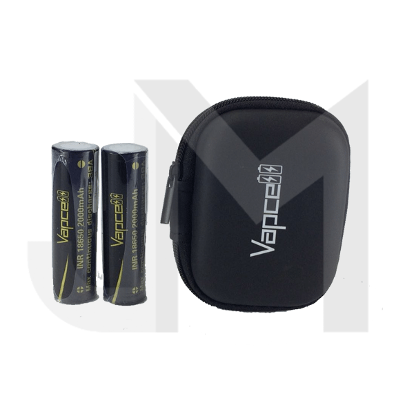 2 x Vapcell 18650 1800mAh Batteries + EVA Case