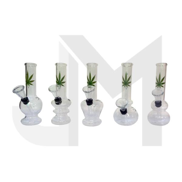 "12 x 6"" Small Leaf Design Glass Bong - GB41"