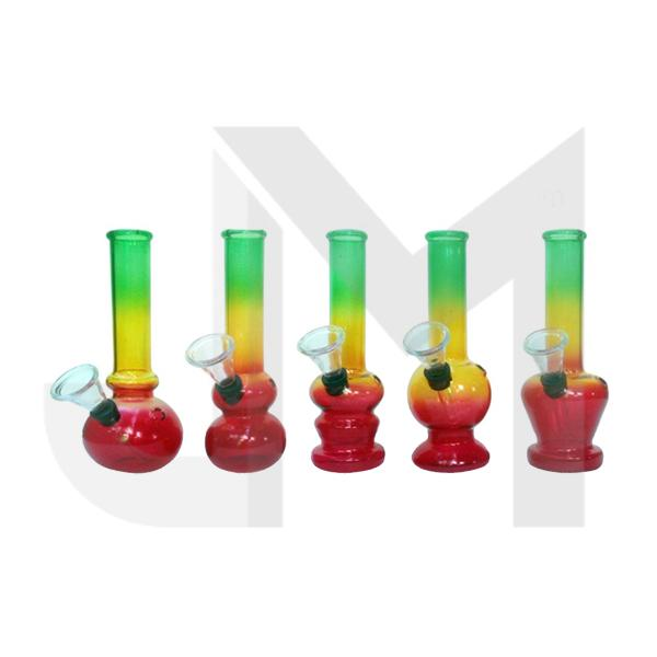 12 x 15cm Mini Rasta Glass Bong - GB43