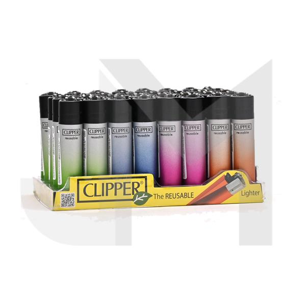 40 Clipper Classic Metallic Gradient Silver Lighters