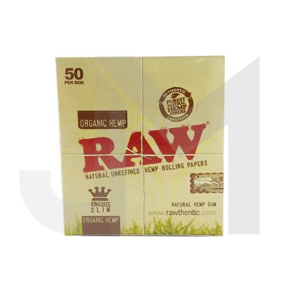 50 Raw Organic Hemp King Size Slim Rolling Papers