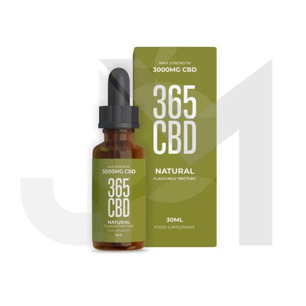 365CBD Flavoured Tincture Oil 3000mg CBD 30ml - Natural (Offer Inside!)