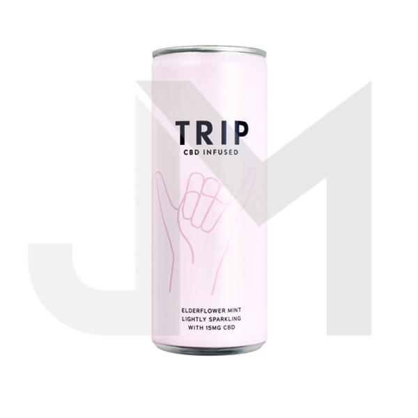 12 x TRIP 15mg CBD Infused Elderflower & Mint Drink 250ml
