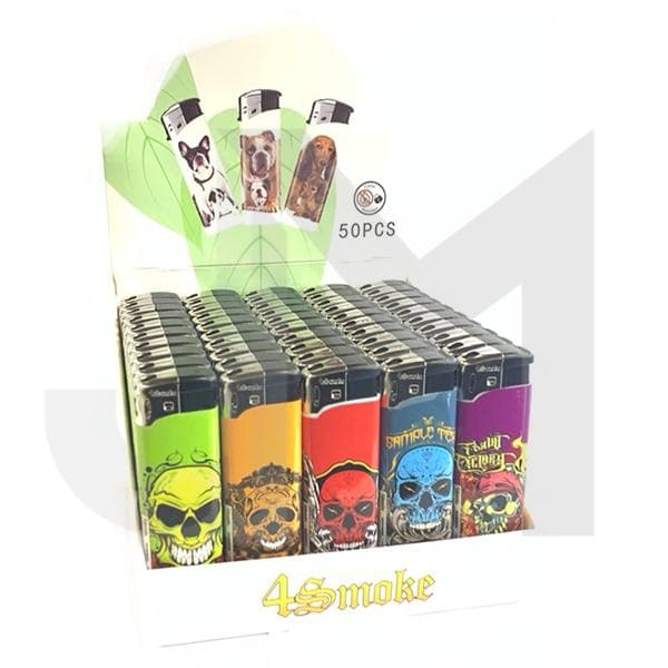 50 x 4Smoke Electronic Lighters Various Designs - WK73